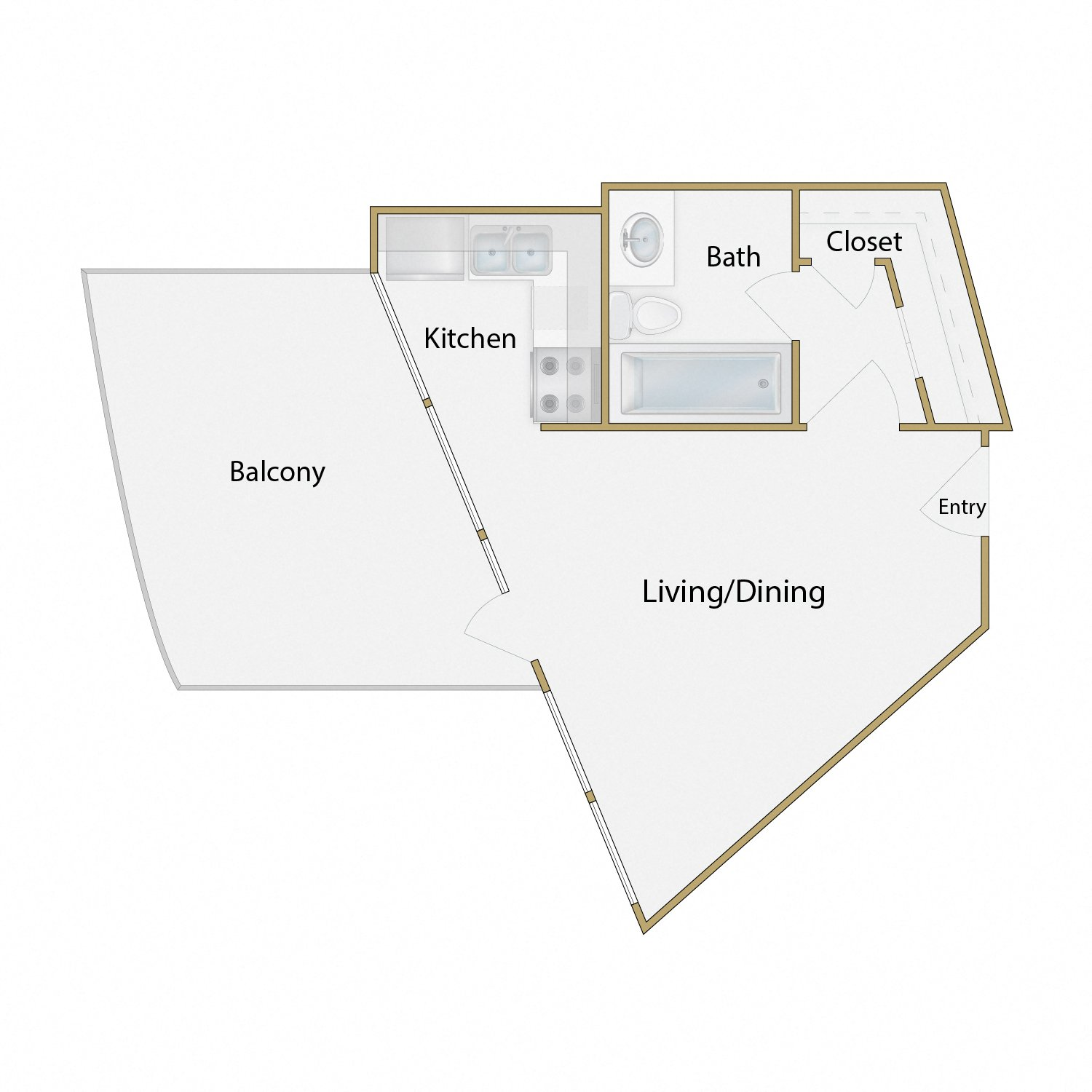 Pier Thirty Nine floor plan diagram. Studio apartment with an open kitchen dining and living area, one bathroom, and a balcony.