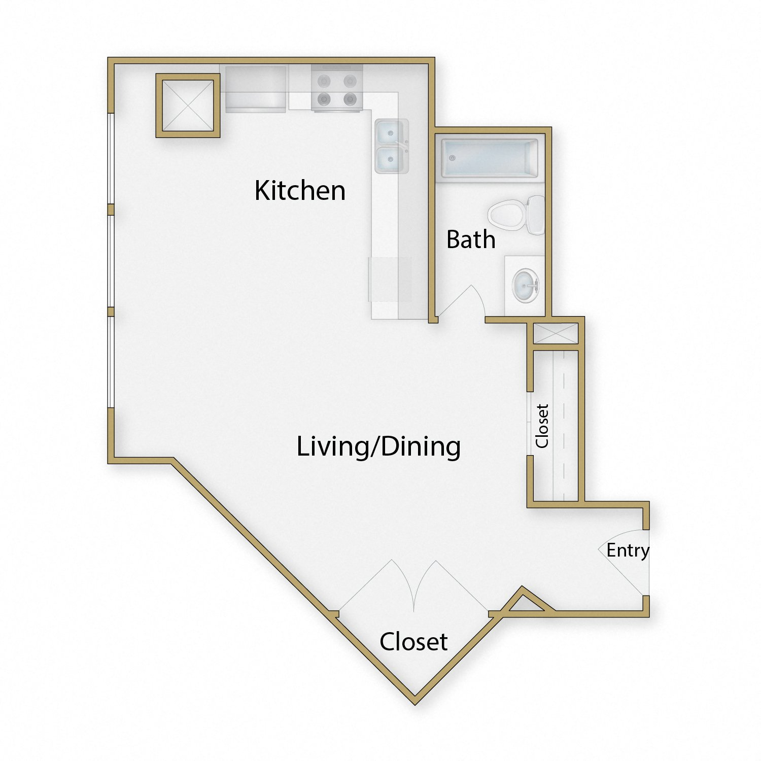Nobhill floor plan diagram. Studio apartment with an open kitchen dining and living area and one bathroom.