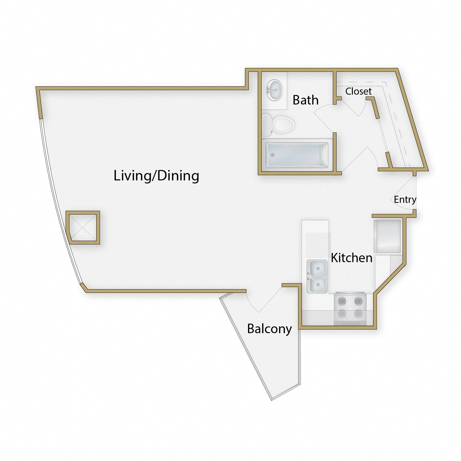 Embarcadero Two floor plan diagram. Studio apartment with an open kitchen dining and living space, one bathroom, and a balcony.