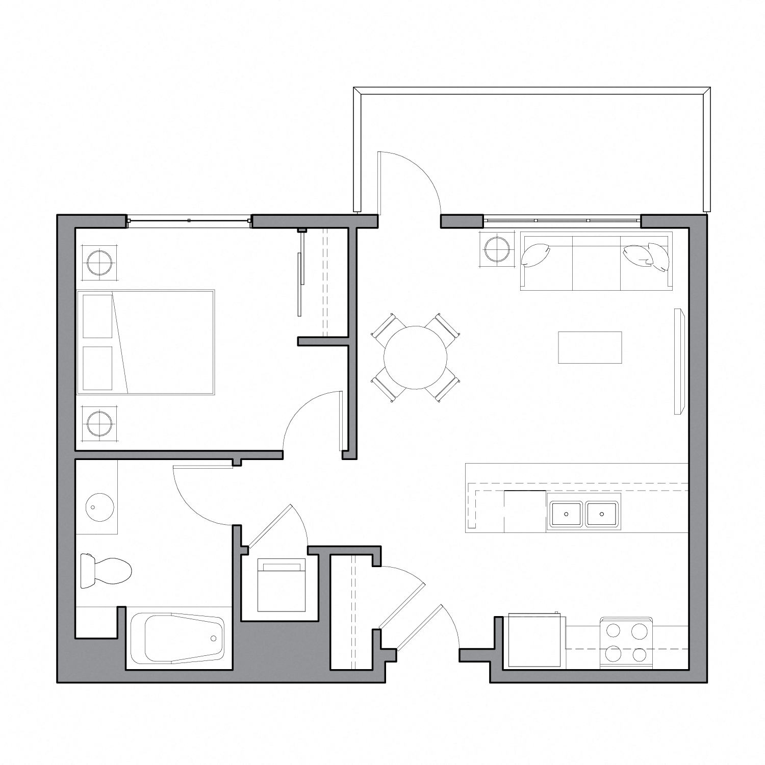 Floor plan diagram with one bedroom, one bathroom, an open kitchen dining and living space, and a patio