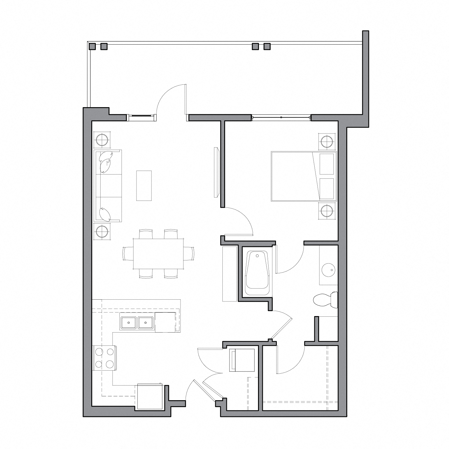 Floor plan diagram with one bedroom, one bathroom, an open kitchen dining and living space, and a large patio