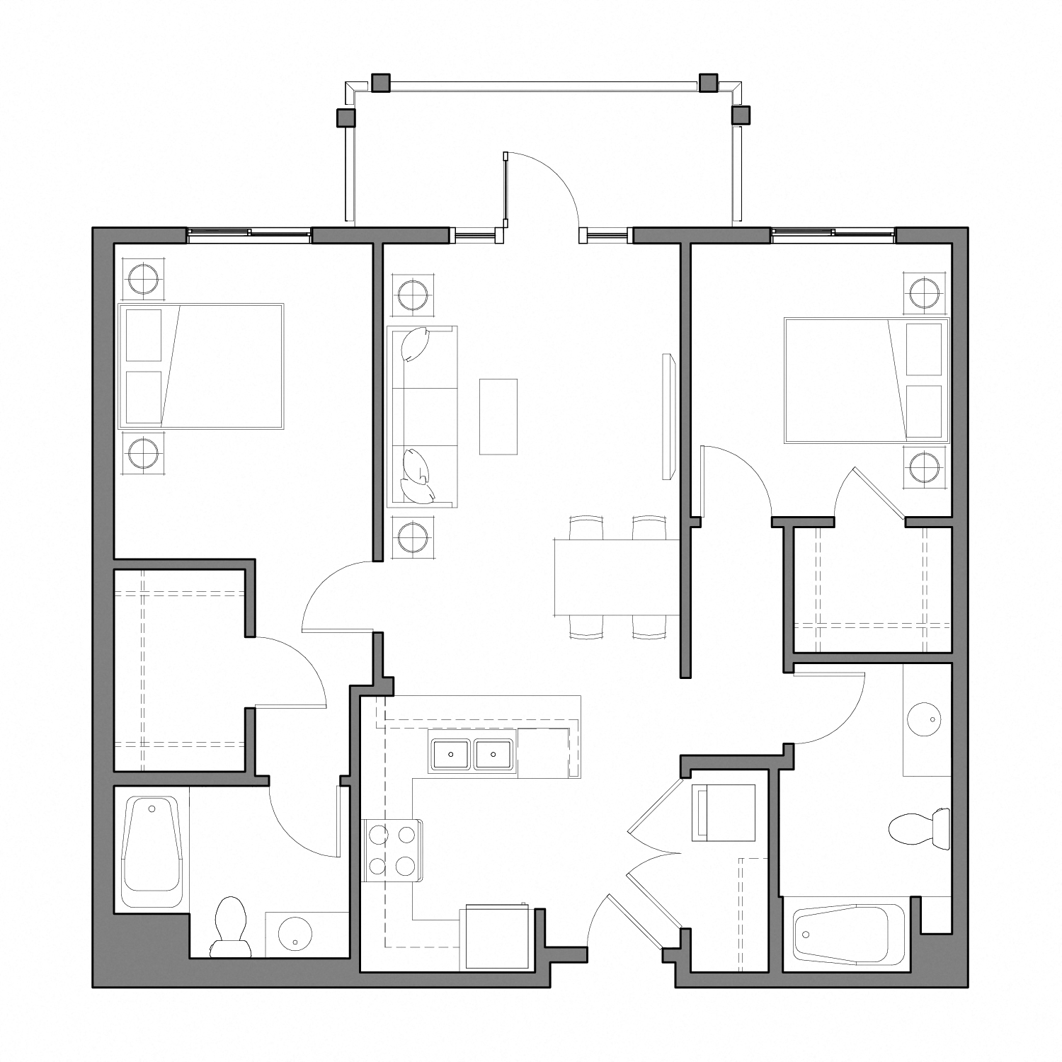 Floor plan diagram with two bedrooms, two bathrooms, an open kitchen dining and living space, and a patio