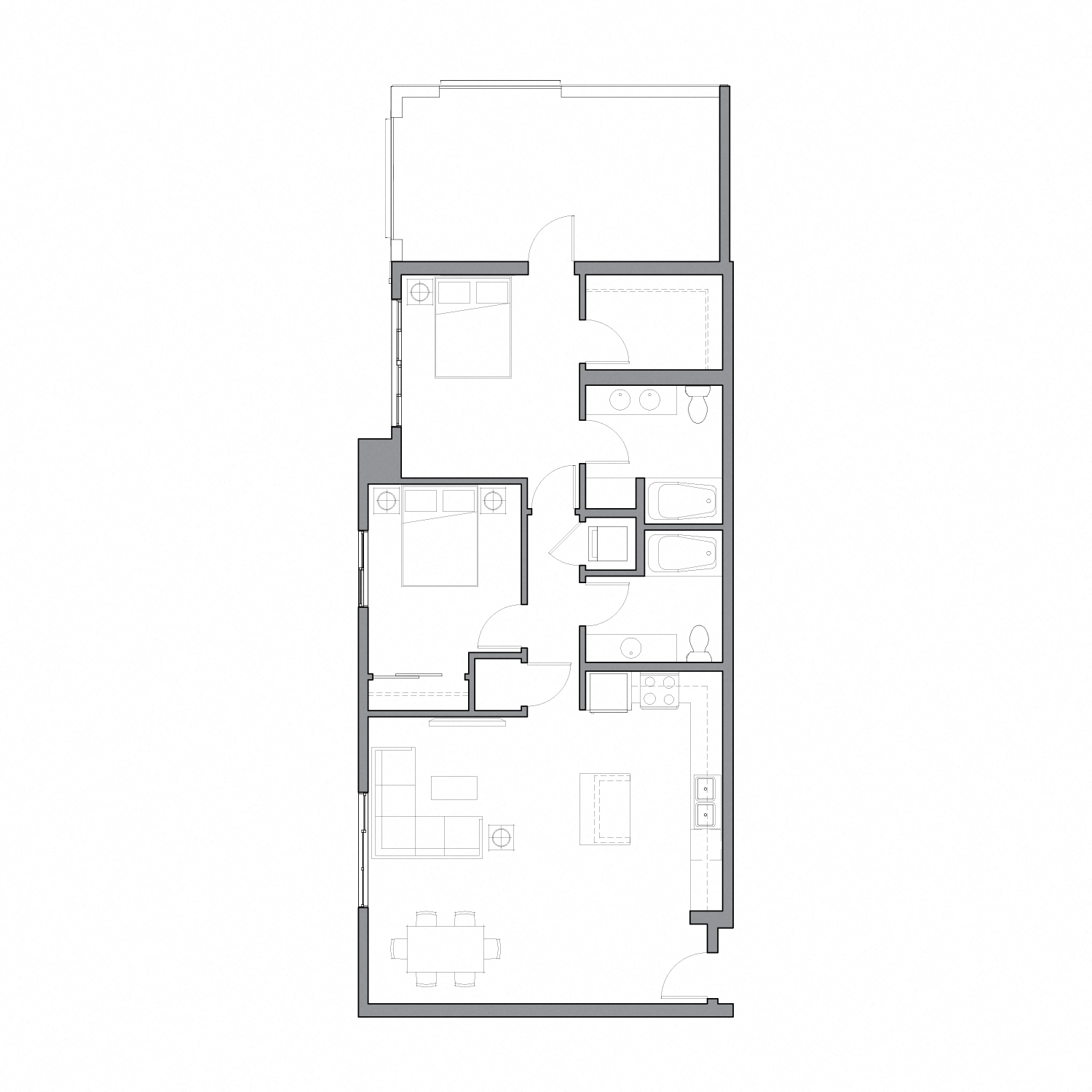 Floor plan diagram with two bedrooms, two bathrooms, an open kitchen dining and living space, and a large patio