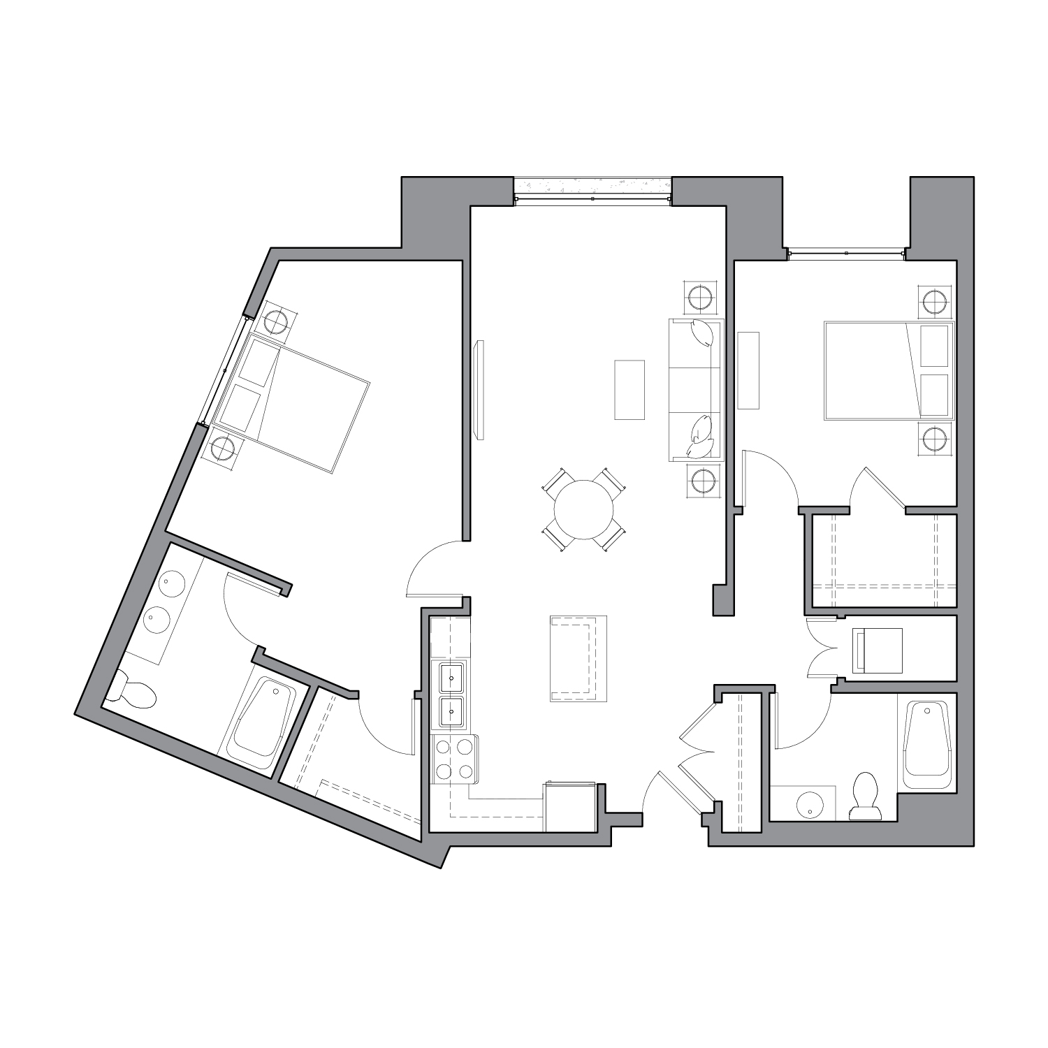 Floor plan diagram with three bedrooms, two bathrooms, and an open kitchen dining and living space
