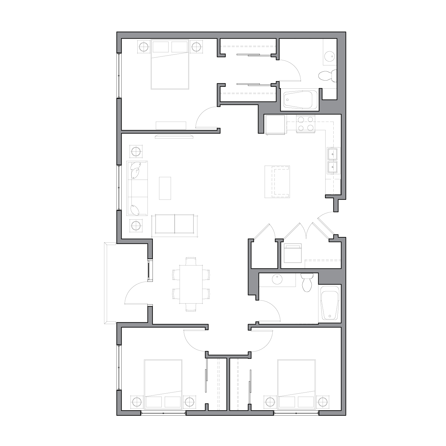 Floor plan diagram with three bedrooms, two bathrooms, an open kitchen dining and living space, and a patio