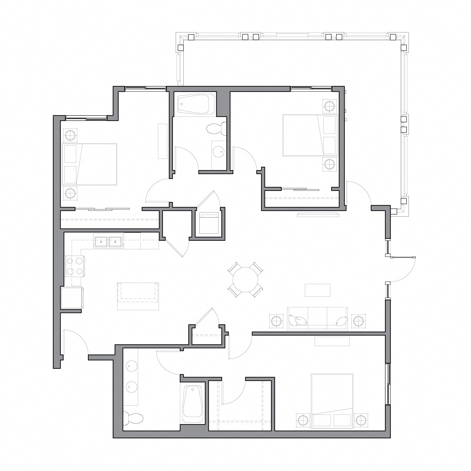 Floor plan diagram with three bedrooms, two bathrooms, an open kitchen dining and living space, and a large patio
