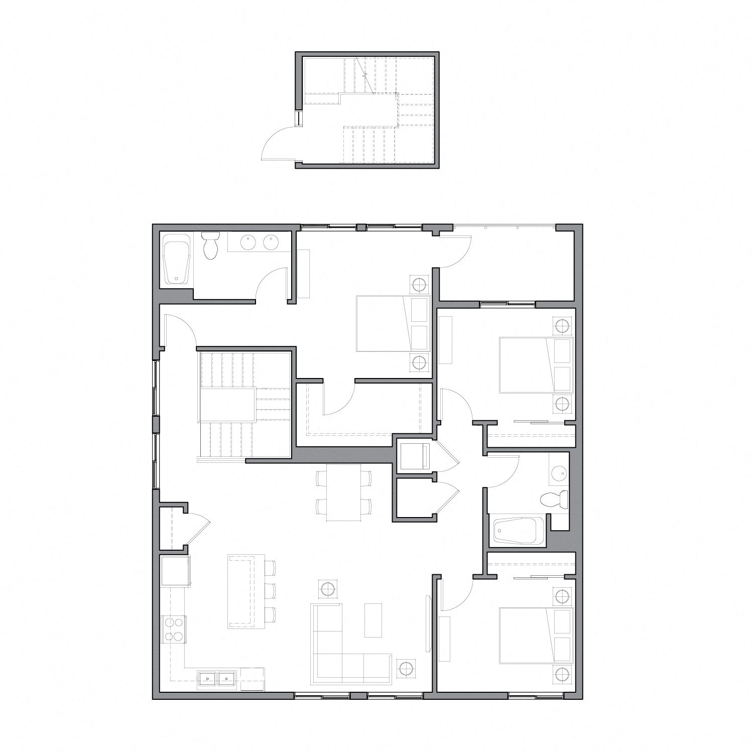 Lofted floor plan diagram with three bedrooms, two bathrooms, and an open kitchen dining and living space