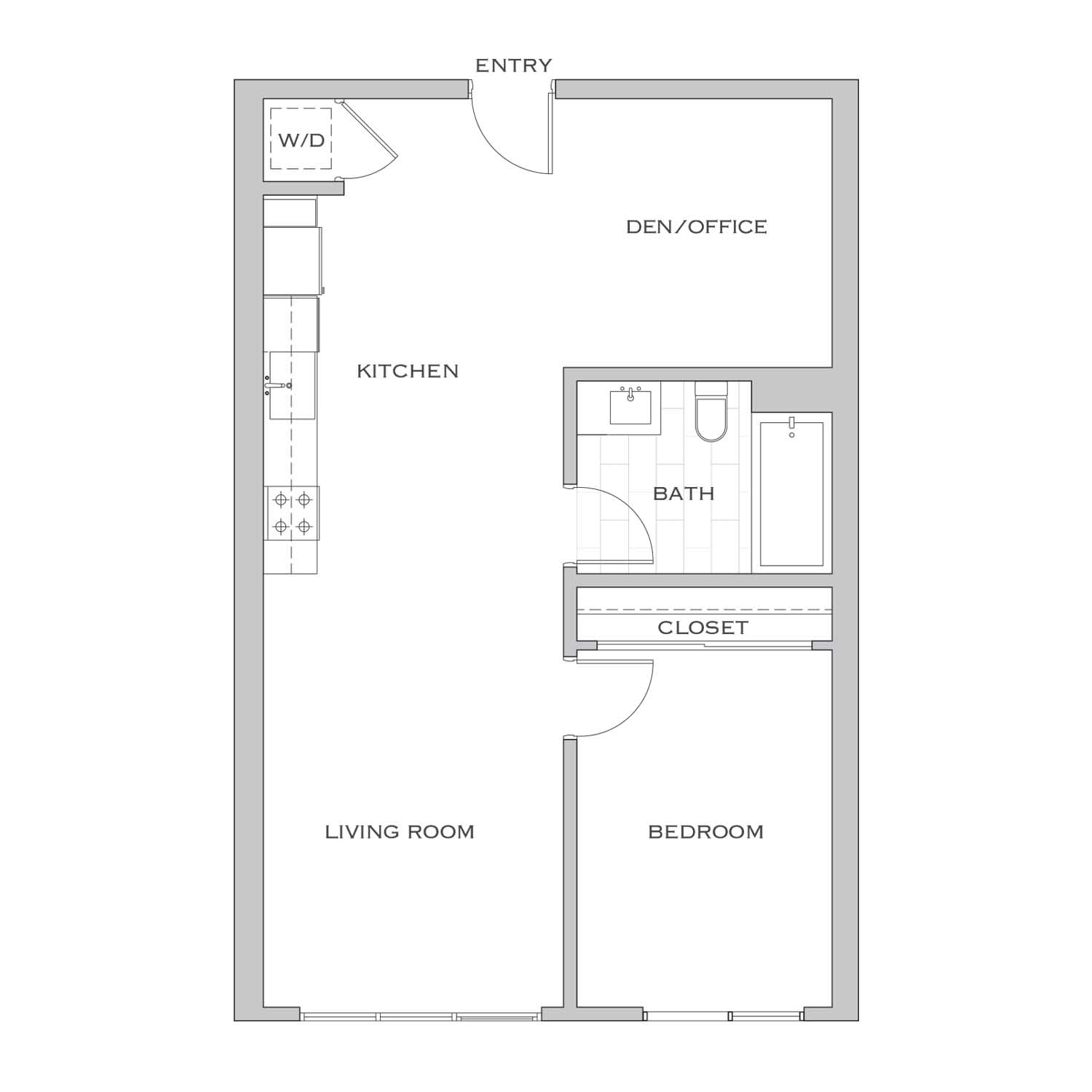 Nielson One floor plan diagram. One bedroom, one bathroom, an open kitchen and living area, and a washer dryer.