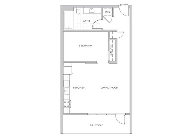 Nielson Two floor plan diagram. One bedroom, one bathroom, an open kitchen and living area, a balcony, and a washer dryer.