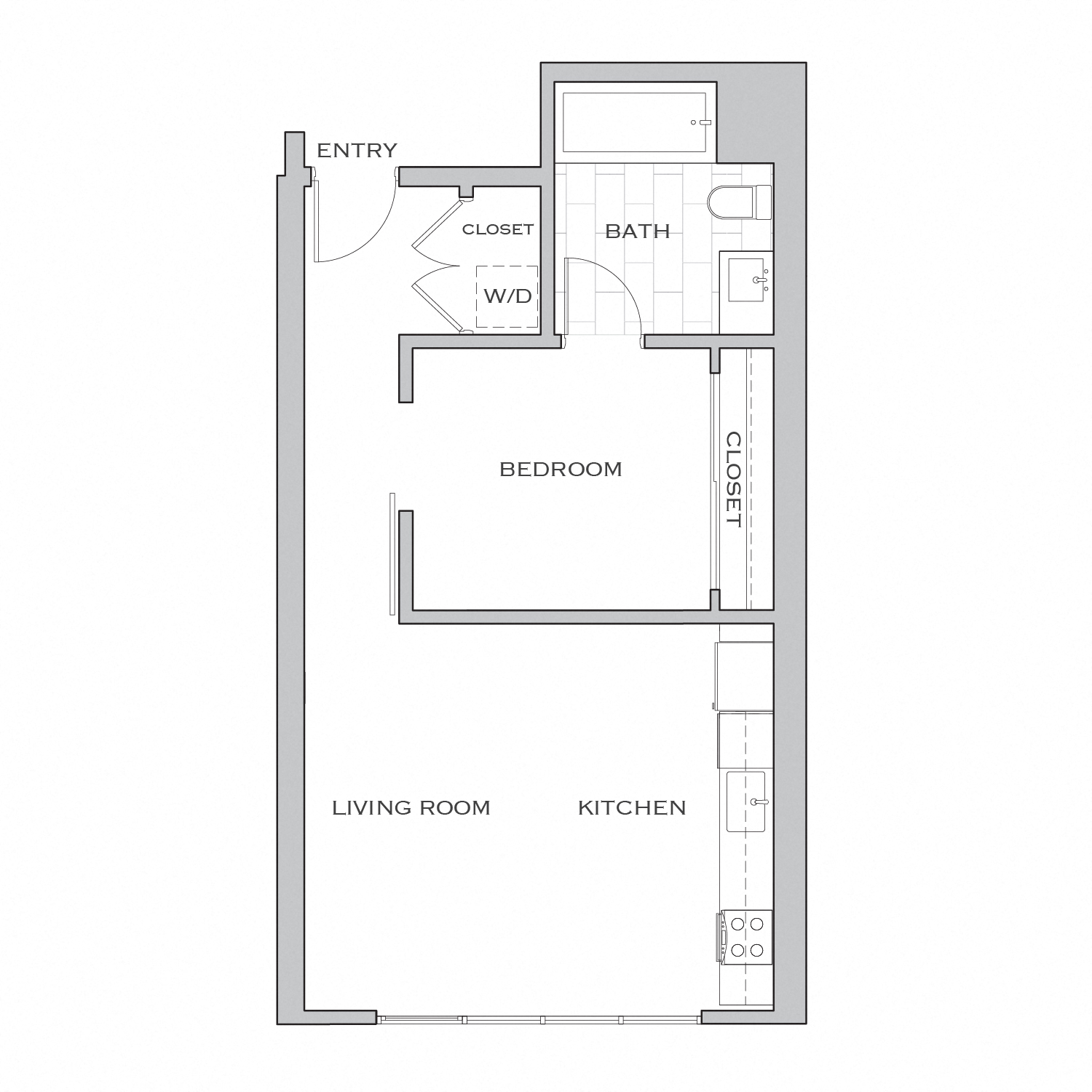 Nielson Three floor plan diagram. One bedroom, one bathroom, an open kitchen and living area, and a washer dryer.