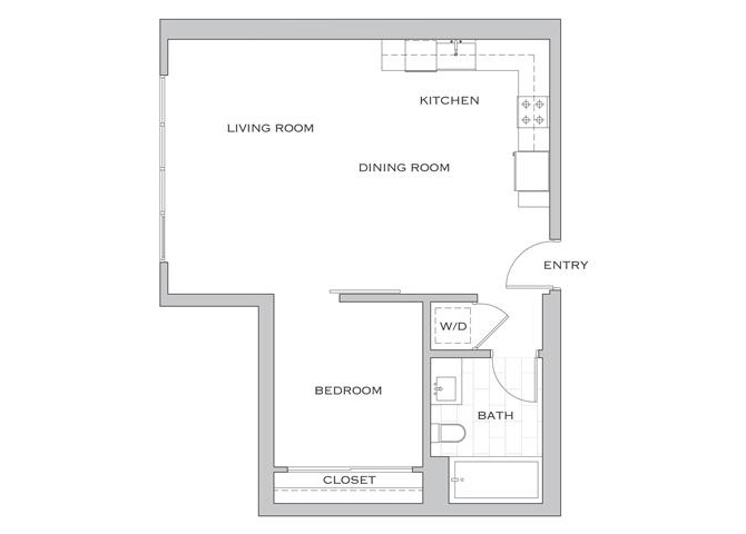 Nielson Four floor plan diagram. One bedroom, one bathroom, an open kitchen and living area, and a washer dryer.
