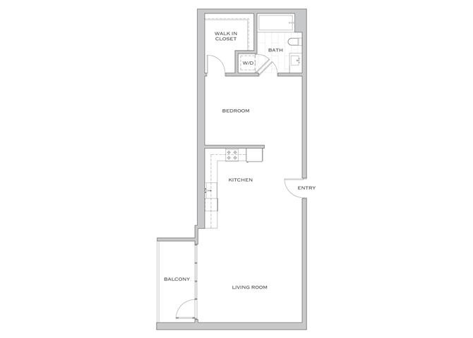 Nielson Five floor plan diagram. One bedroom, one bathroom, an open kitchen and living area, a balcony, and a washer dryer.