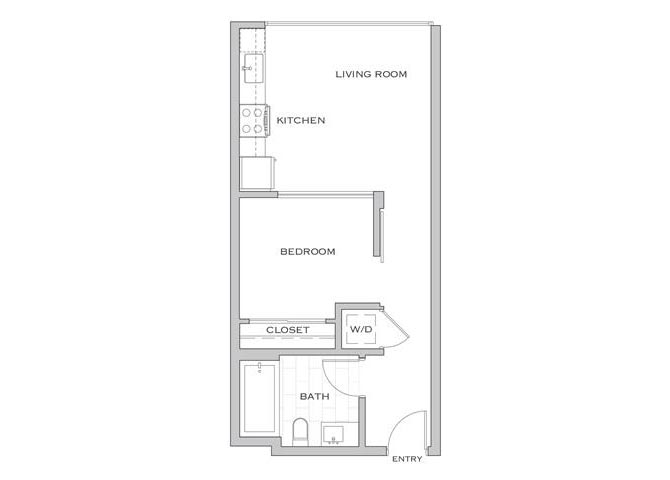 Nielson Six floor plan diagram. One bedroom, one bathroom, an open kitchen and living area, and a washer dryer.