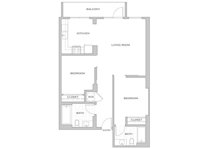 Eisen Two floor plan diagram. Two bedrooms, two bathrooms, an open kitchen and living area, a balcony, and a washer dryer.