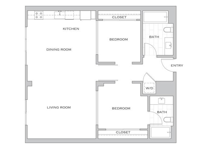 Eisen Three floor plan diagram. Two bedrooms, two bathrooms, an open kitchen dining and living area, and a washer dryer.