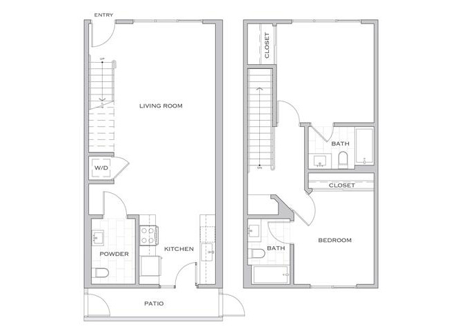 Eisen Four floor plan diagram. A two story apartment with two bedrooms, two bathrooms, a powder room, an open kitchen and living area, a balcony, and a washer dryer.