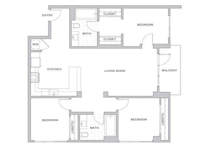Bradley floor plan diagram. Three bedrooms, two bathrooms, an open kitchen and living area, a balcony, and a washer dryer.