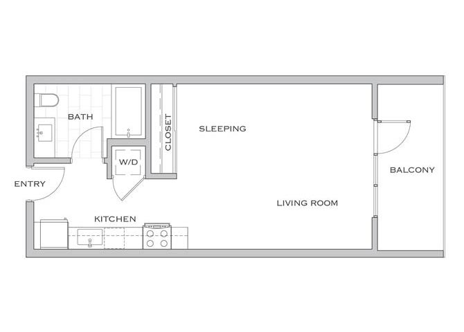 Walker floor plan diagram. Studio apartment with a galley kitchen, a living area, a balcony, and a washer dryer.