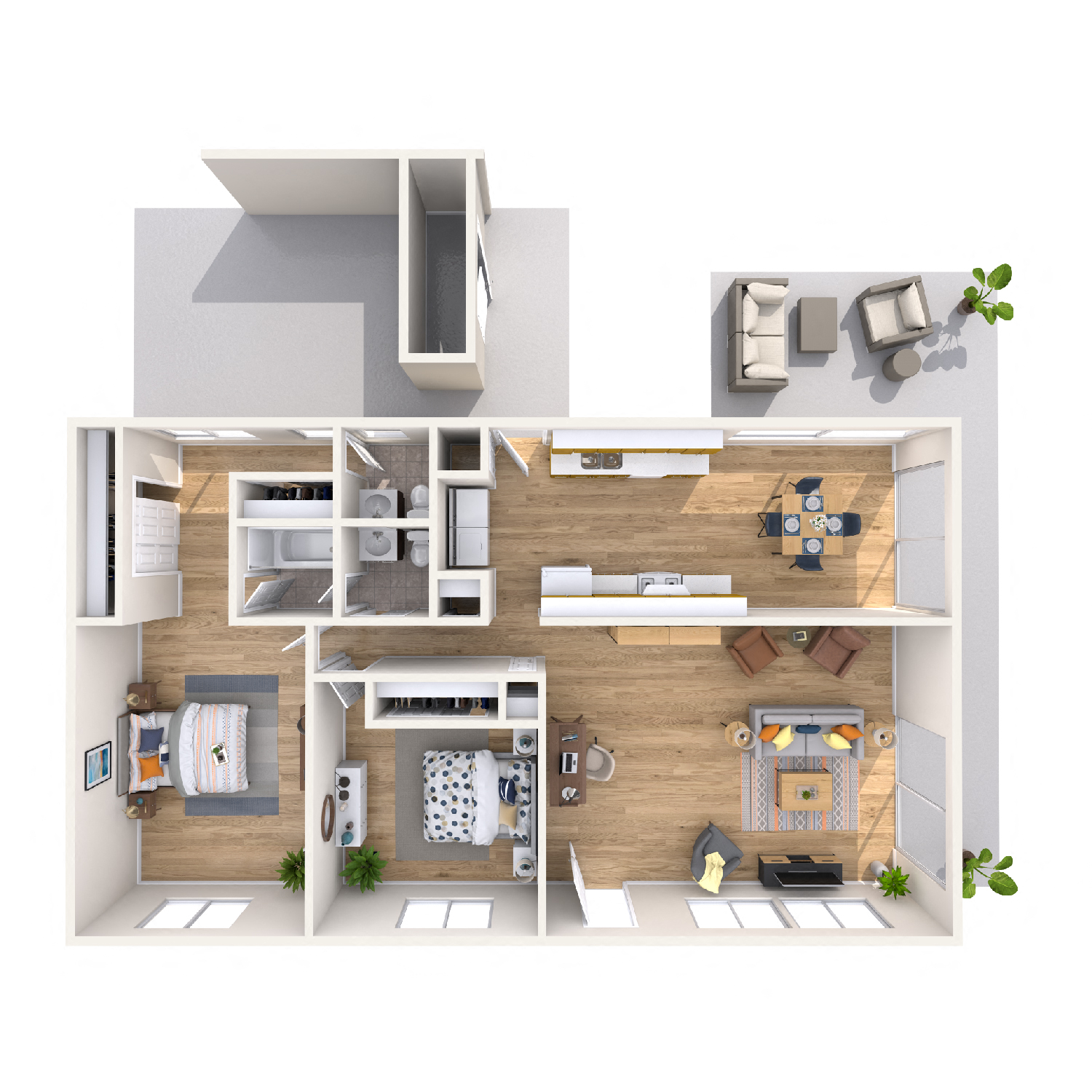 Hibiscus diagram - 2 bed 1.5 bath kapolei apt floorplan
