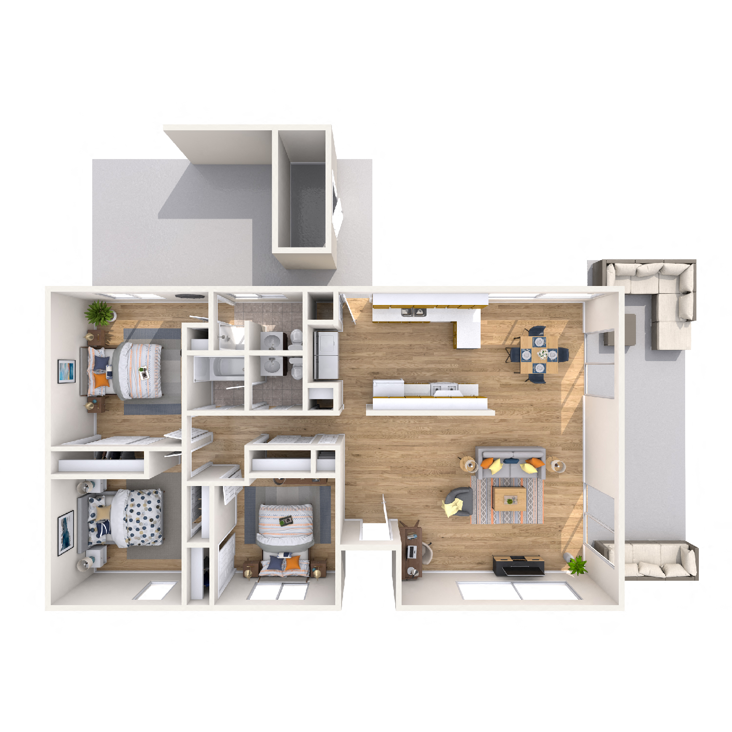 Lehua diagram - 3 bed 2 bath kapolei apt floorplan