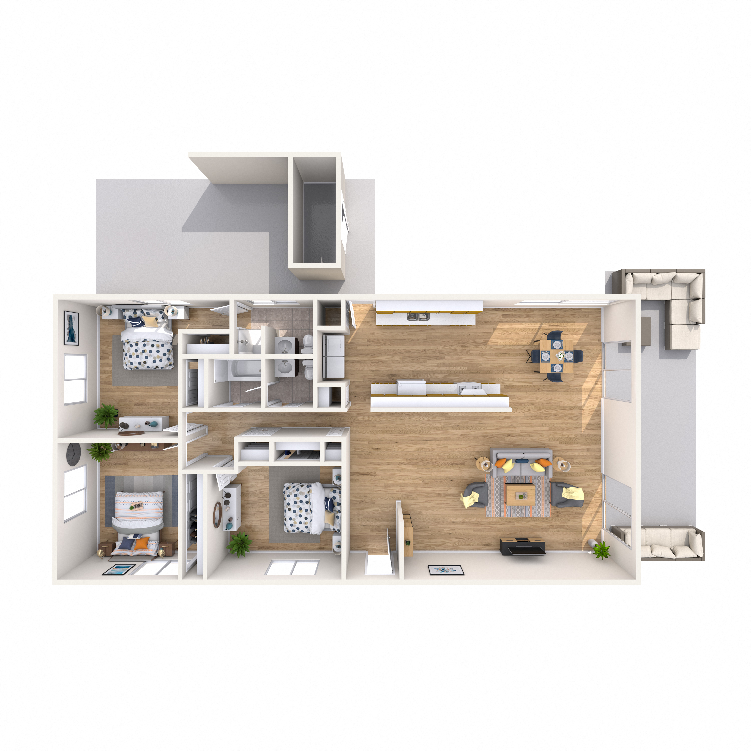 Ilima diagram - 3 bed 2 bath kapolei apt floorplan