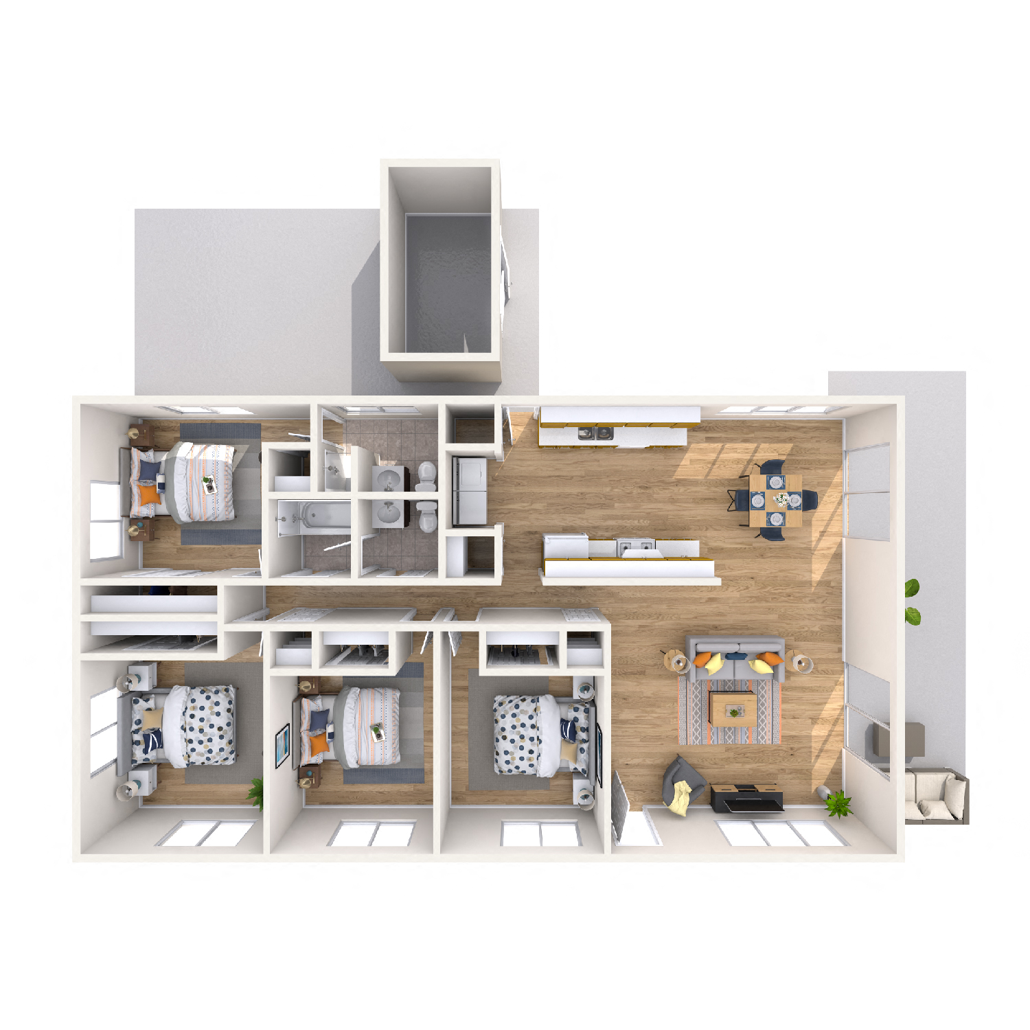 Orchid diagram - 4 bedroom 2 bath apt floorplan
