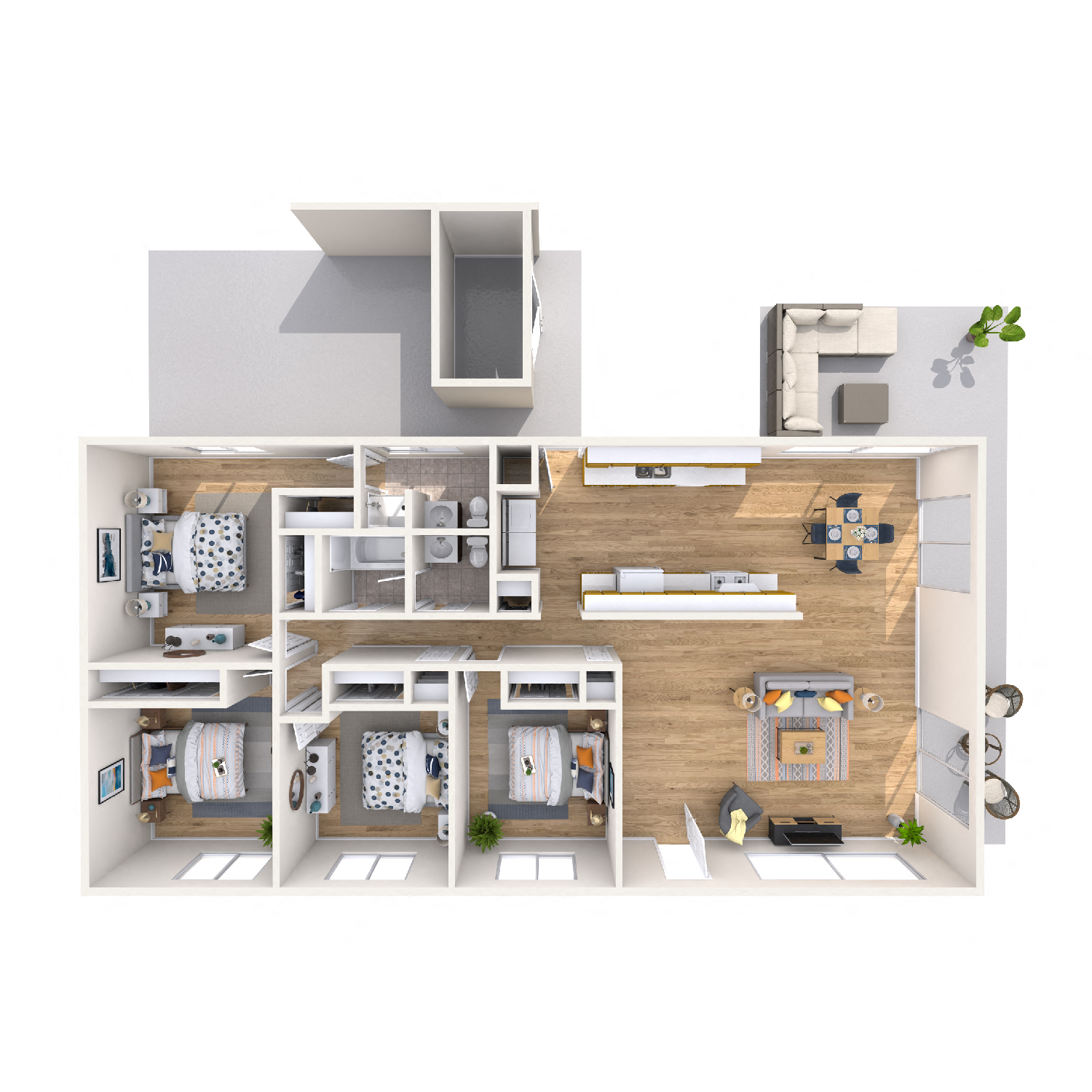 Pikake diagram - 4 bed 2 bath apt floorplan kapolei
