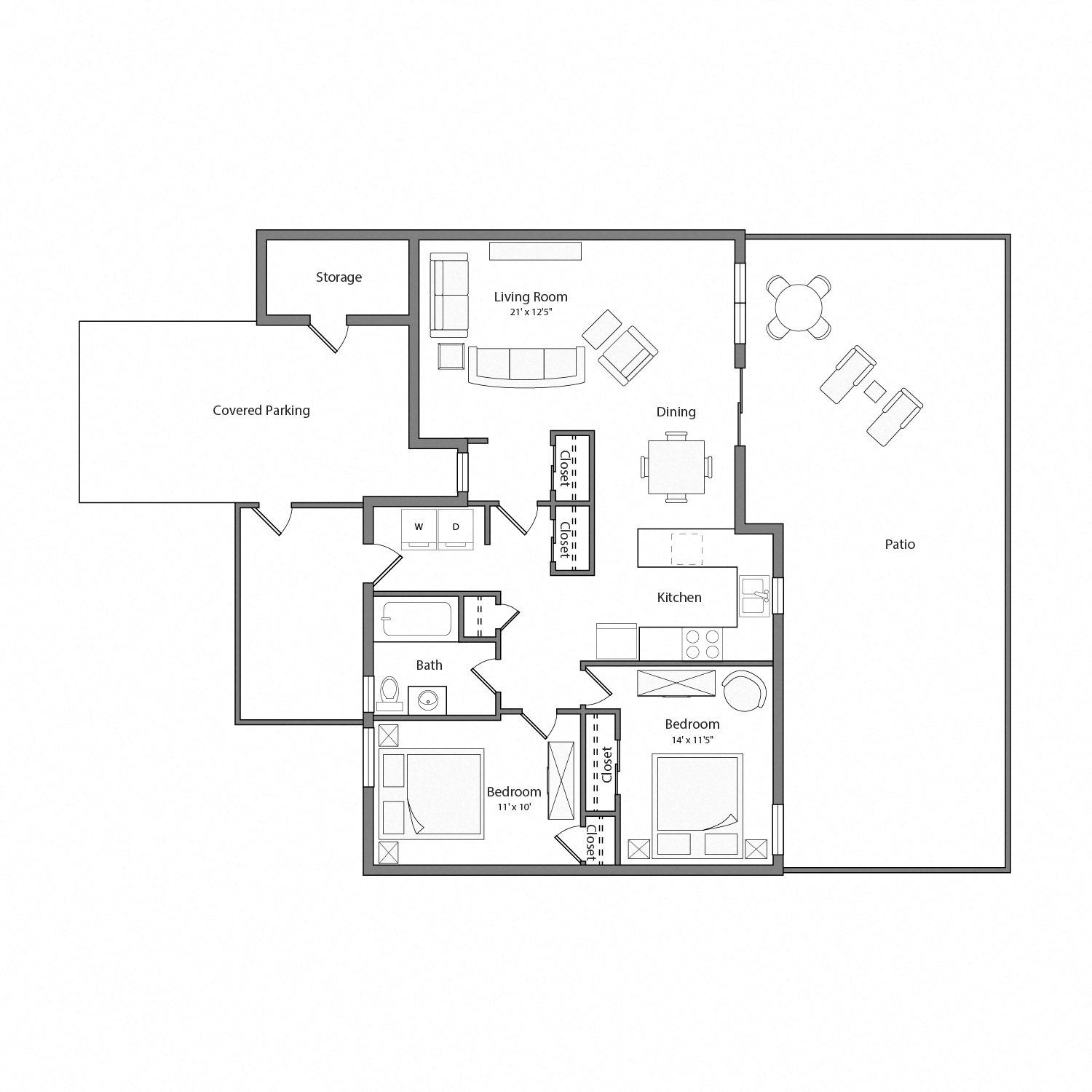 Cypress Renovated house floor plan diagram. Two bedrooms, one bathroom, an open kitchen, living and dining area with doors to a large patio, a laundry nook, and a covered parking area.