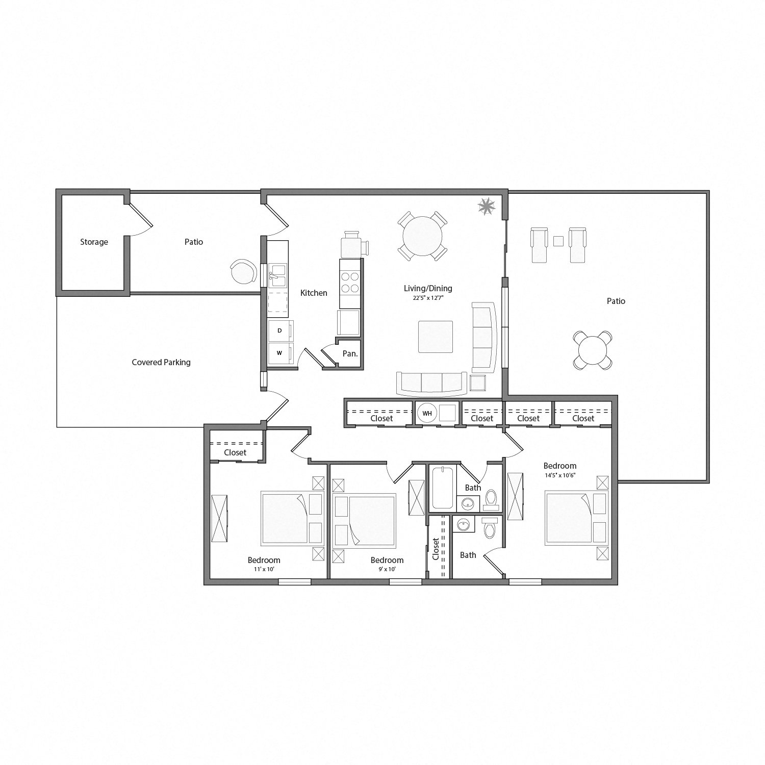 Laurel house floor plan diagram. Three bedrooms, one and a half bathrooms, a kitchen and adjacent laundry, an open living and dining area, two patios, and a covered parking area.