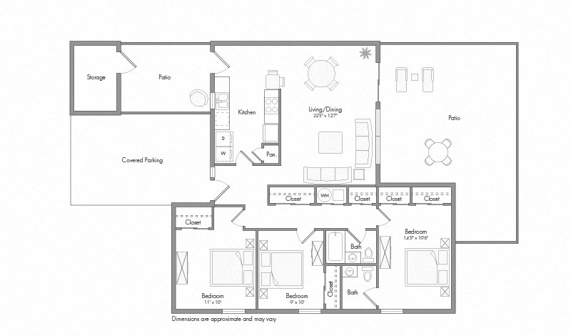 Converted Laurel house floor plan diagram. Three bedrooms, two bathrooms, a kitchen and adjacent laundry, an open living and dining area, two patios, and a covered parking area.