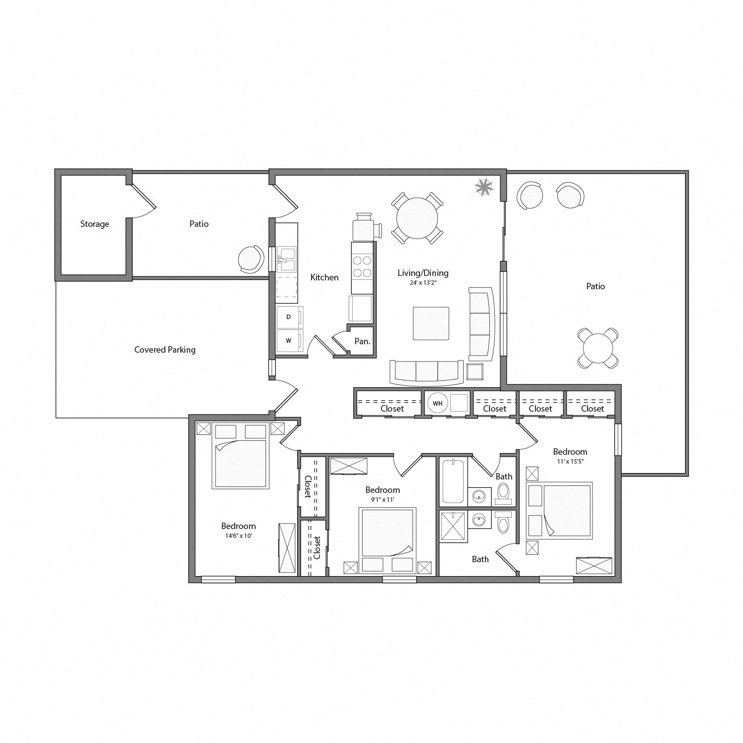 Magnolia house floor plan diagram. Three bedrooms, two bathrooms, a kitchen and adjacent laundry, an open living and dining area, two patios, and a covered parking area.