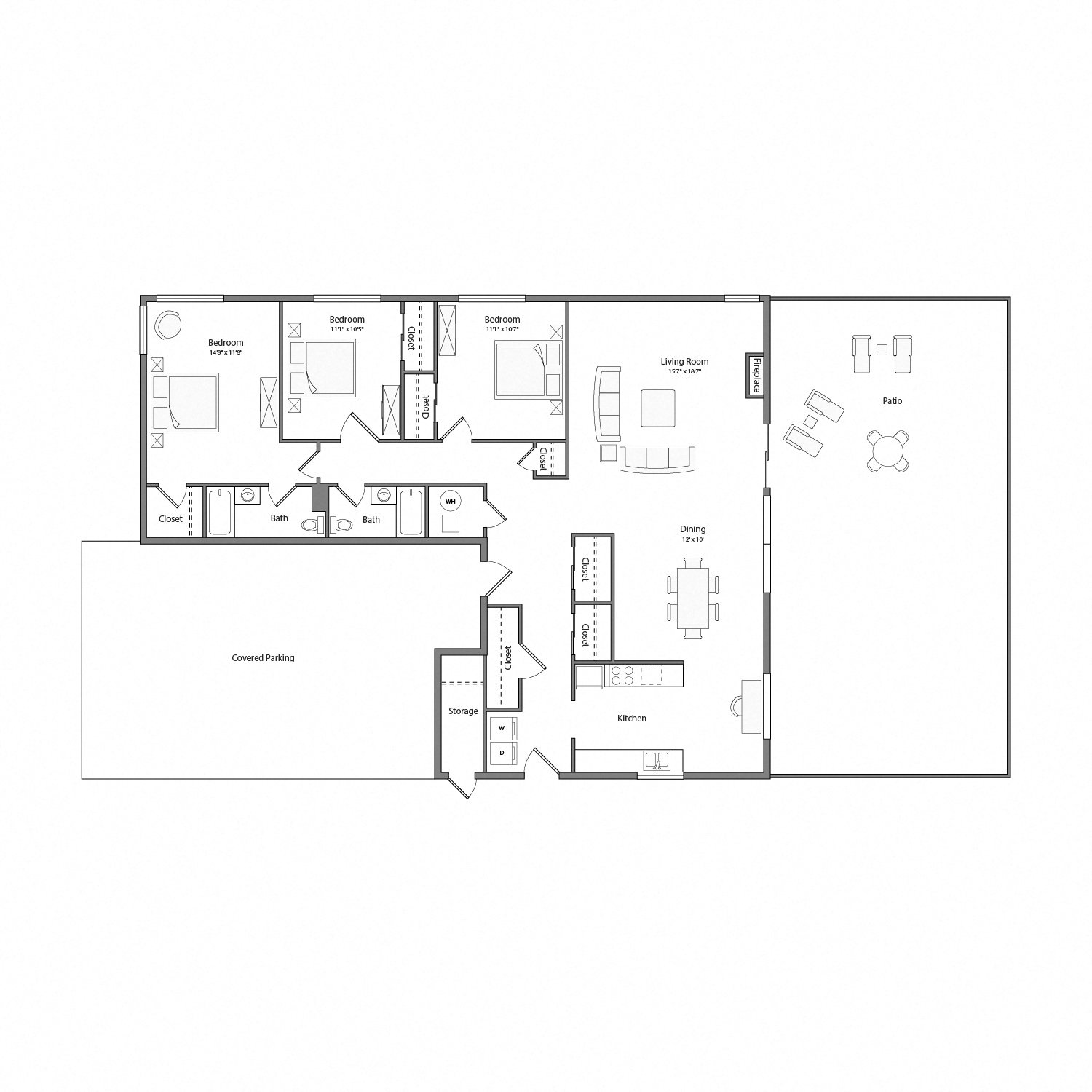 Sycamore house floor plan diagram. Three bedrooms, two bathrooms, a kitchen, an open living and dining area with doors to a large patio, a laundry nook, and a covered parking area.