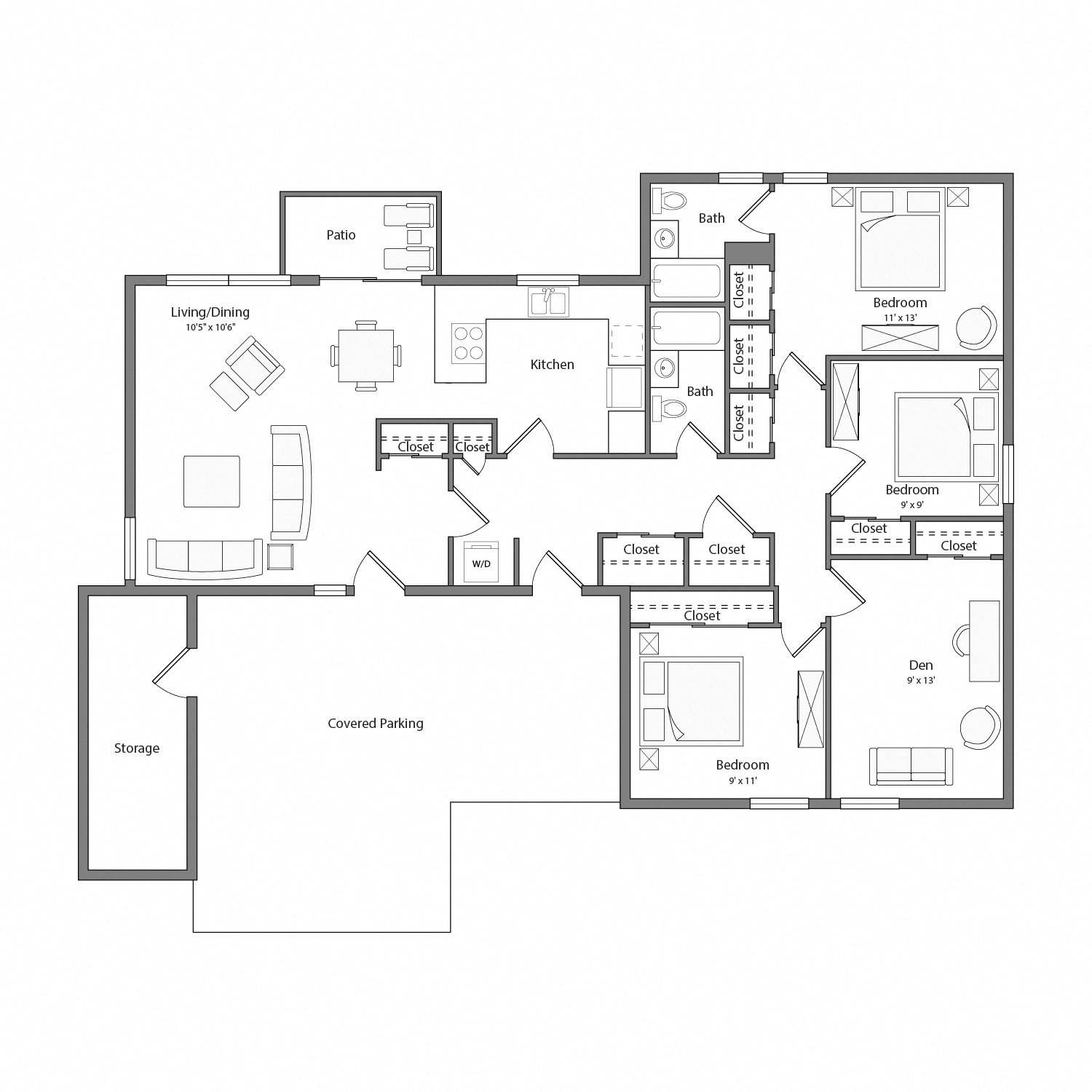 Pebble Beach house floor plan diagram. Four bedrooms, two bathrooms, a kitchen, an open living and dining area with doors to a patio, a laundry nook, and a covered parking area.