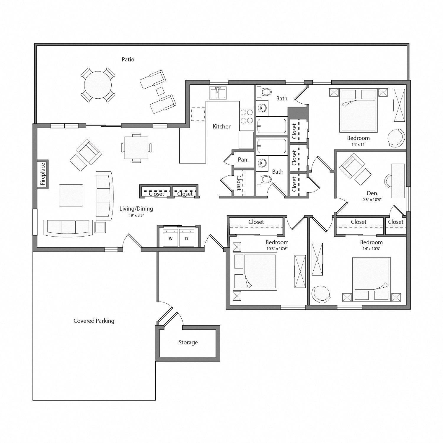Willow house floor plan diagram. Three bedrooms, one den, two bathrooms, a kitchen, an open living and dining area with doors to a large patio, a laundry closet, and a covered parking area.