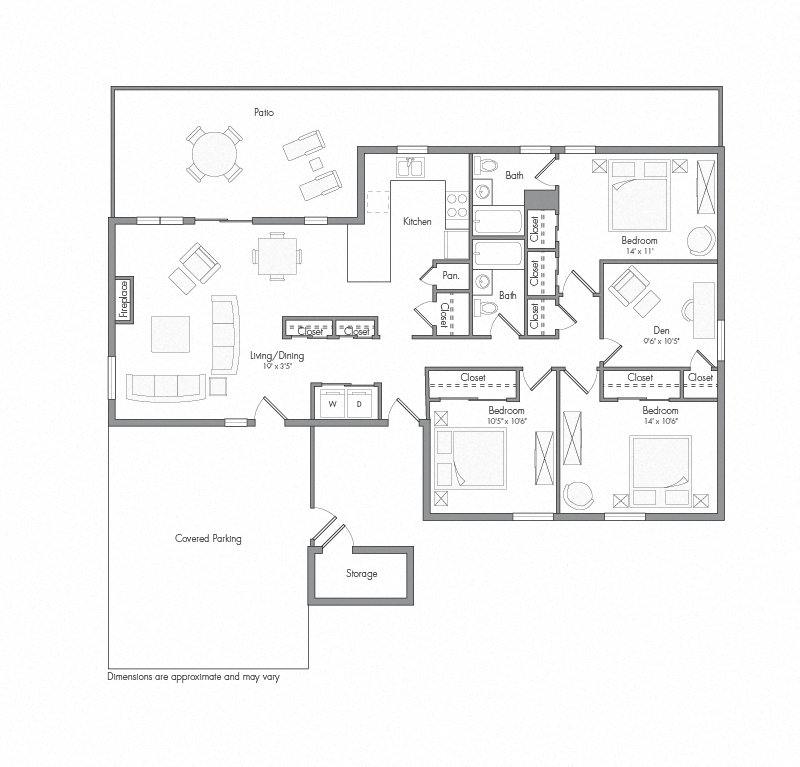 Willow One house floor plan diagram. Three bedrooms, one den, three bathrooms, a kitchen, an open living and dining area with doors to a large patio, a laundry closet, and a covered parking area.