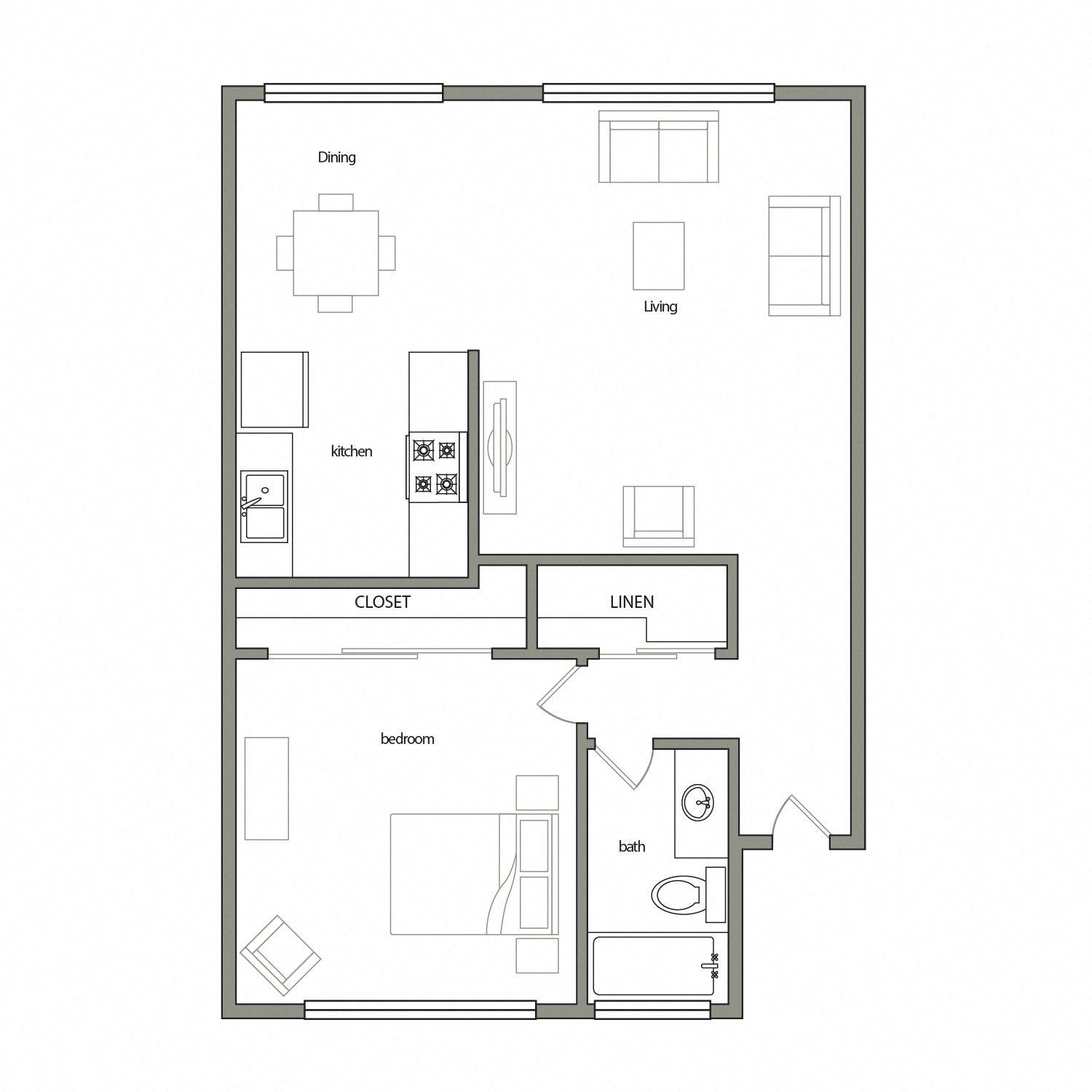 Leon floor plan diagram. One bedroom, one bathroom,  and an open kitchen dining and living area.
