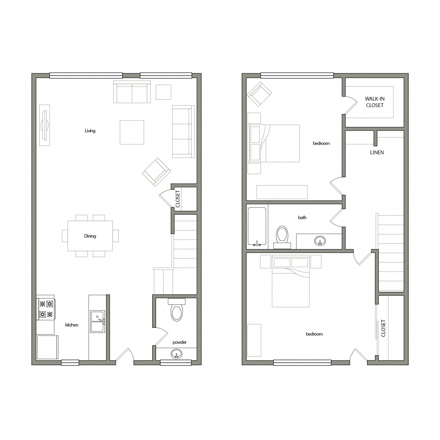 Toleda floor plan diagram. Two story apartment with two bedrooms, one and a half bathrooms, and an open kitchen dining and living area on the bottom floor.