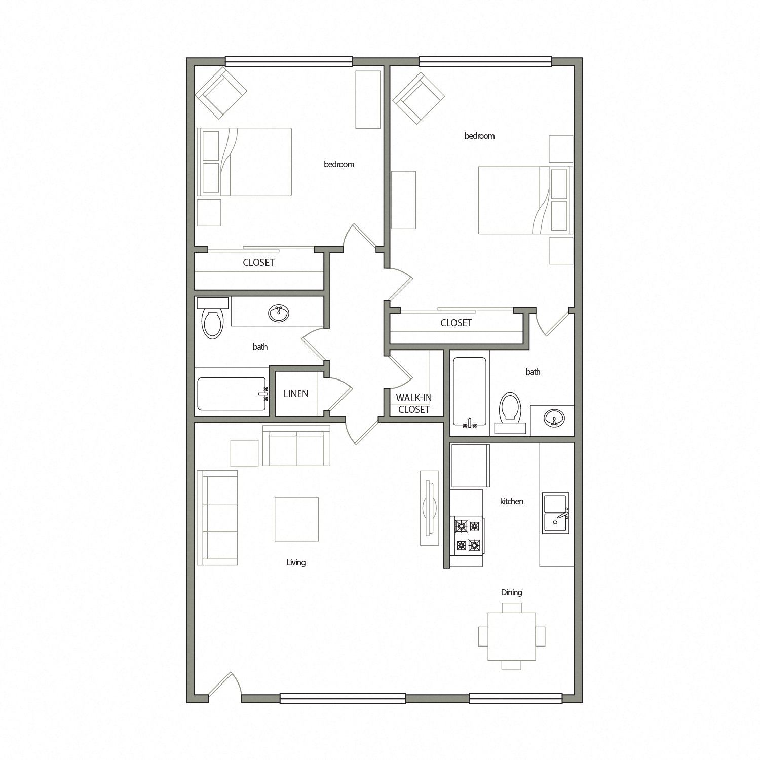 Malaga floor plan diagram. Two bedrooms, two bathrooms, and an open kitchen dining and living area.