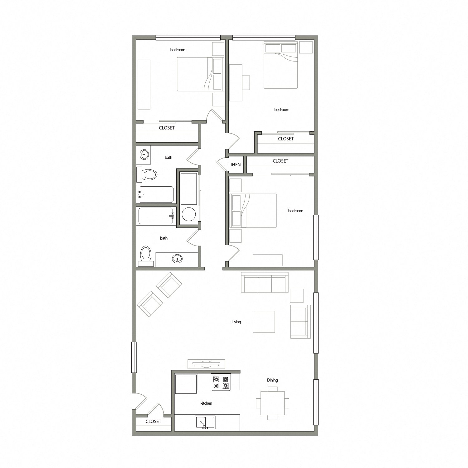 Navarre floor plan diagram. Three bedrooms, two bathrooms, and an open kitchen dining and living area.