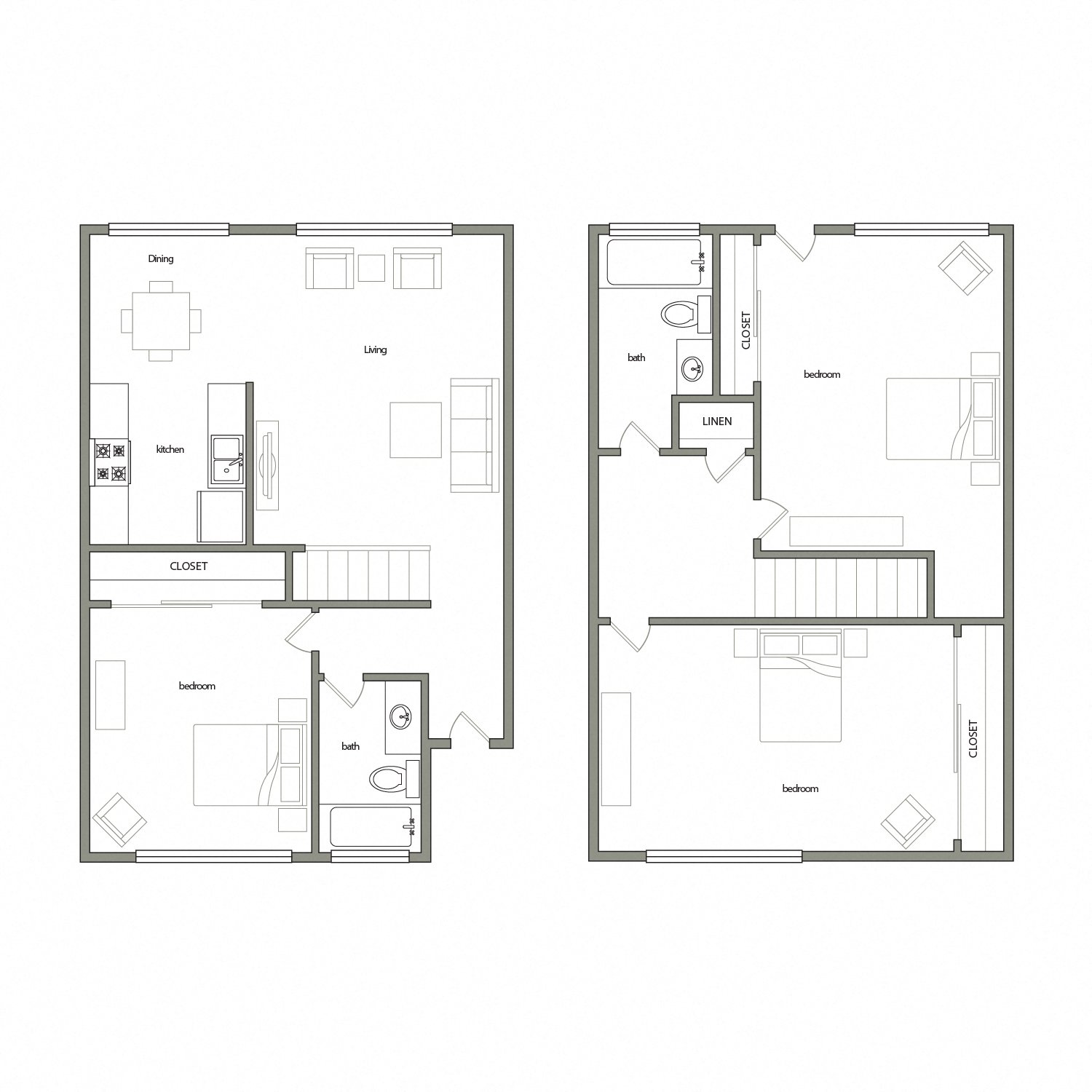 Sevilla floor plan diagram. Two story apartment with three bedrooms, two bathrooms, and an open kitchen dining and living area.