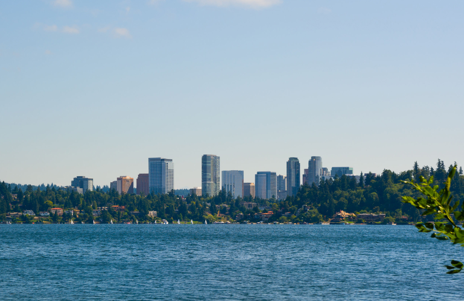 waterfront view of Bellevue Downtown City skyline - Hyde Square Apartments