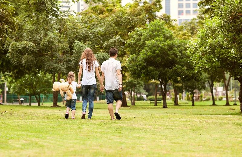 family exploring park in The Madrid neighborhood - Westchester LA