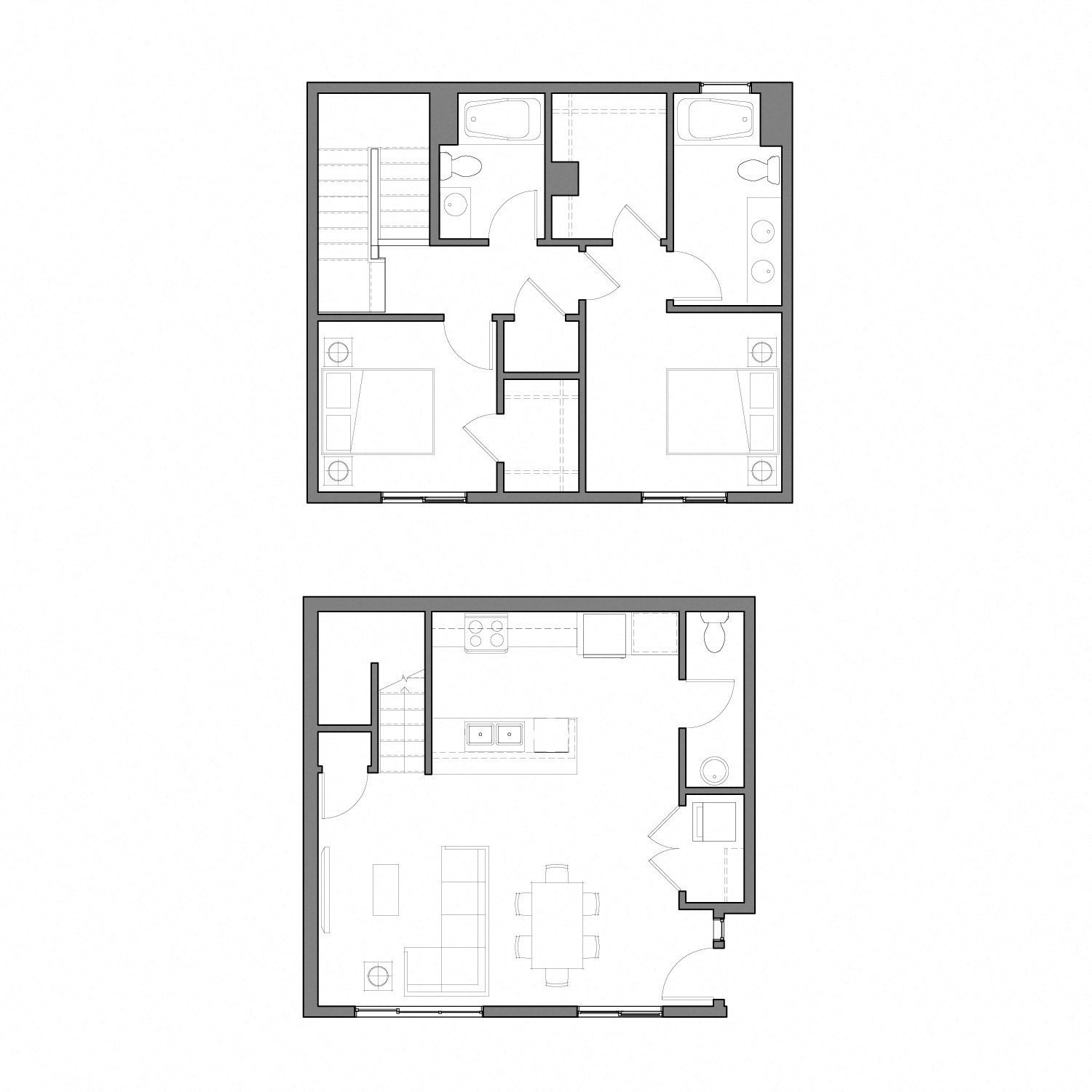 Floor plan diagram for a two story apartment with two bedrooms, two and a half bathrooms, and an open kitchen dining and living space
