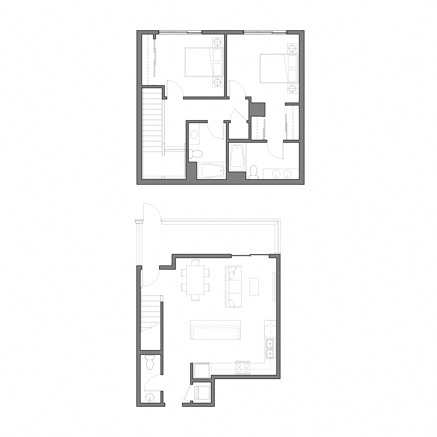 Floor plan diagram for a two story apartment with two bedrooms, two and a half bathrooms, an open kitchen dining and living space, and a patio