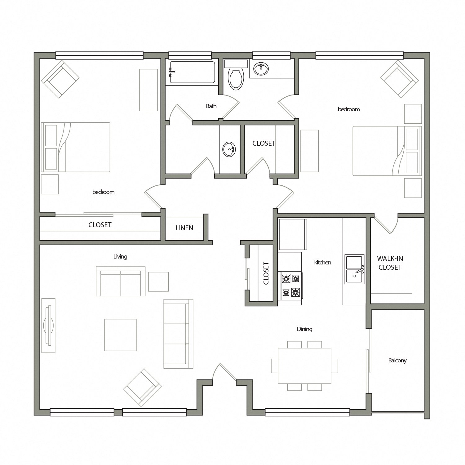 Barcelona floor plan diagram. Two bedrooms, one and a half bathrooms, an open kitchen dining and living area, and a balcony.