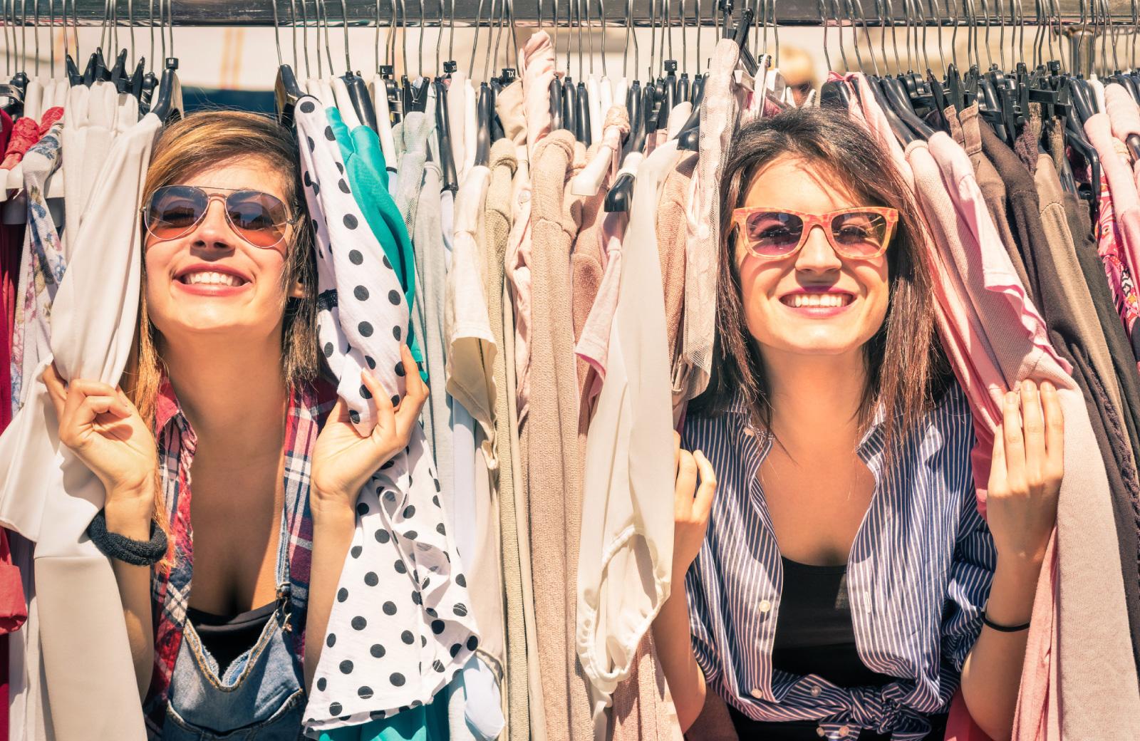 two women in clothing market