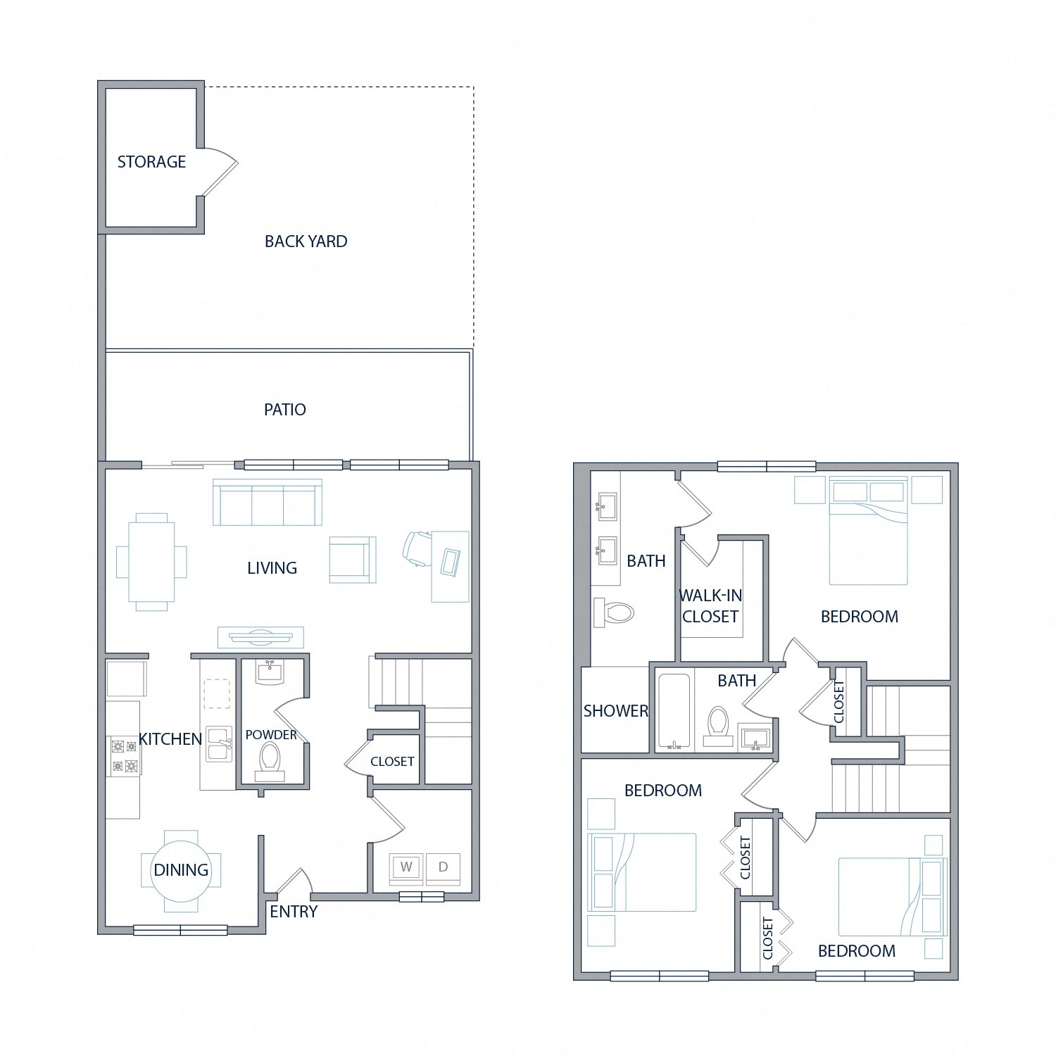 Diagram of the Meridian floor plan. Two stories with three bedrooms, two and a half bathrooms, a laundry room, patio, and backyard with outdoor storage.