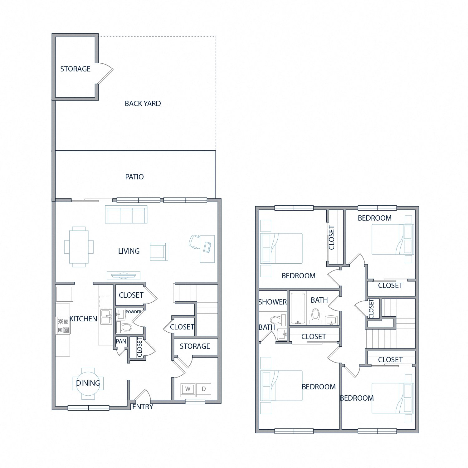 Diagram of the latitude floor plan. Two stories with four bedrooms, two and a half bathrooms, a laundry room, patio, and backyard space with outdoor storage.