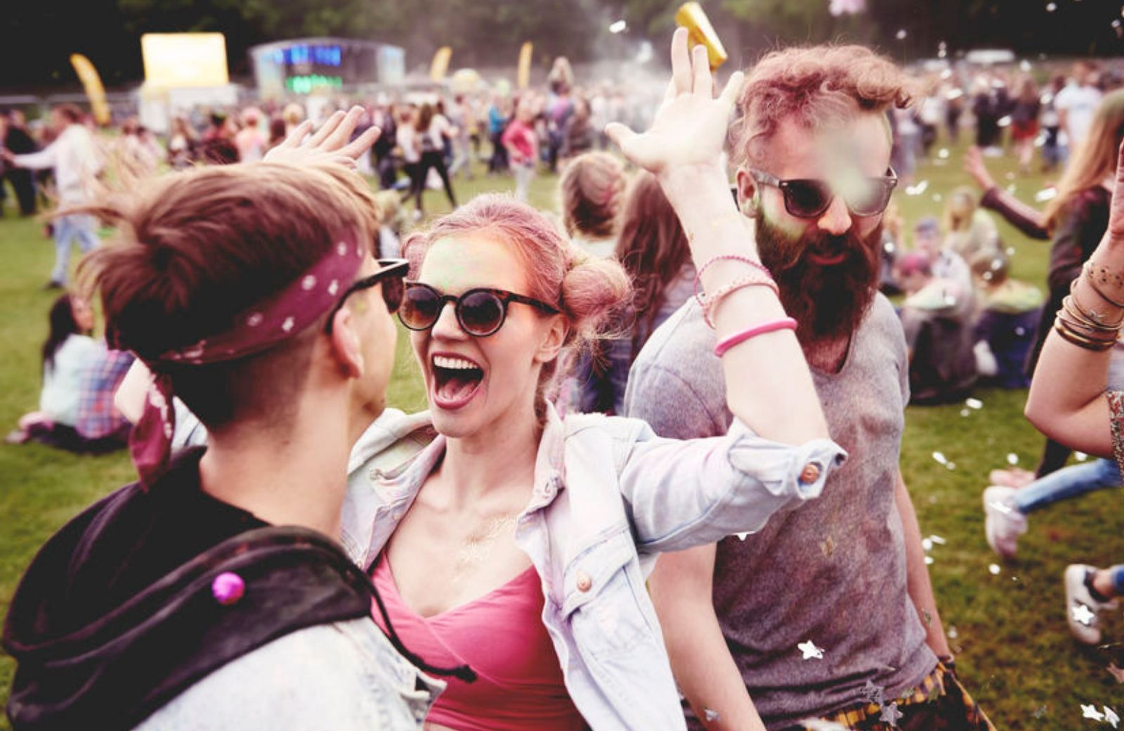 friends celebrating at a festival