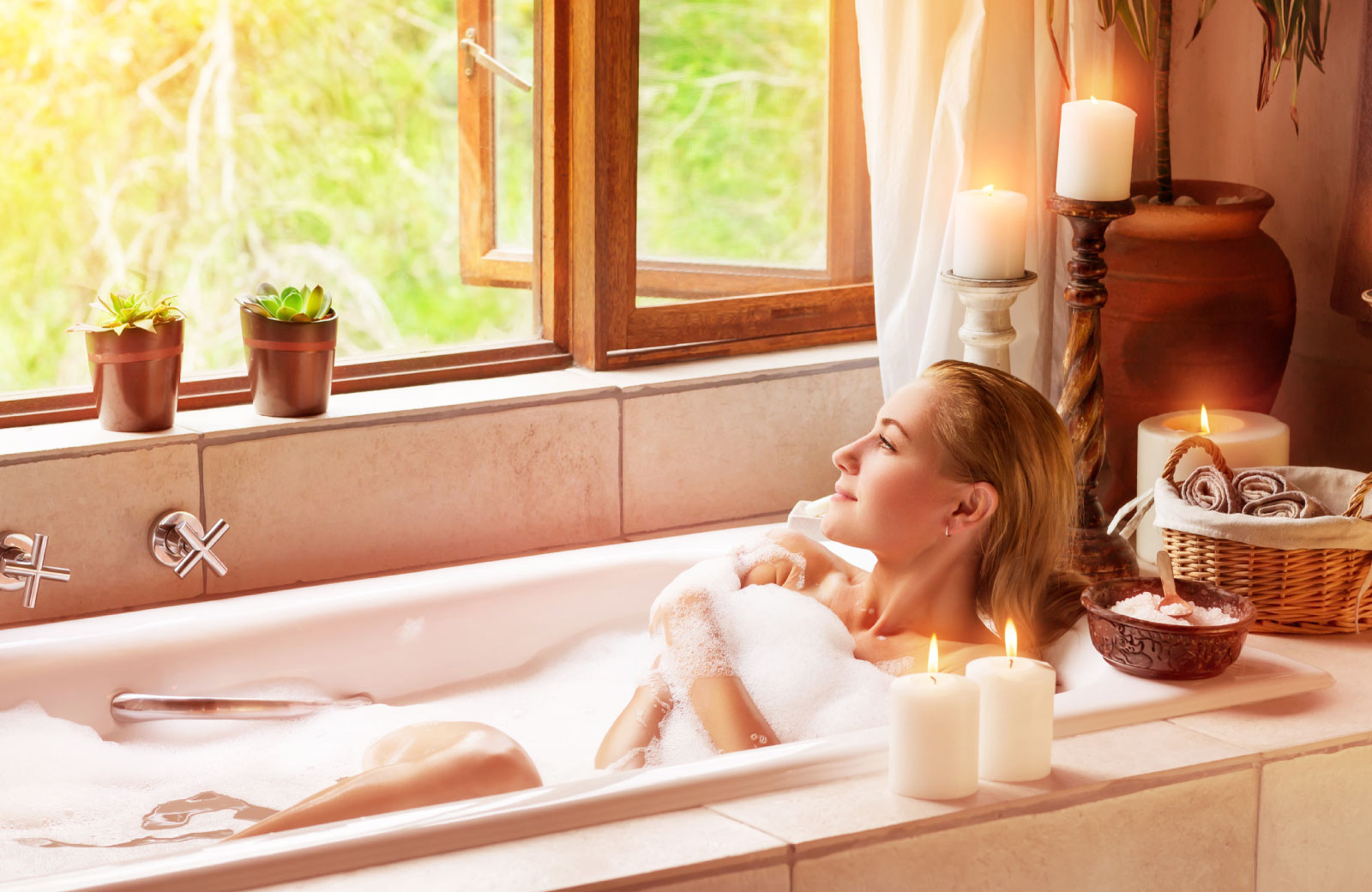 woman relaxing in a bath tub